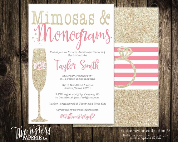 Mimosa Bridal Shower Invitation Awesome Mimosas and Monograms Bridal Shower by Twosisterspaperieco