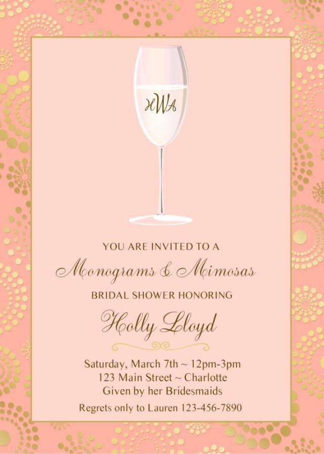 Mimosa Bridal Shower Invitation Beautiful Monogram and Mimosas Bridal Shower Invitation Pink Gold