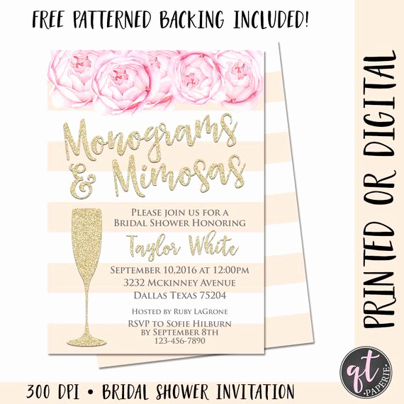 Mimosa Bridal Shower Invitation Beautiful Monograms and Mimosas Bridal Shower Invitation Mimosa Bridal