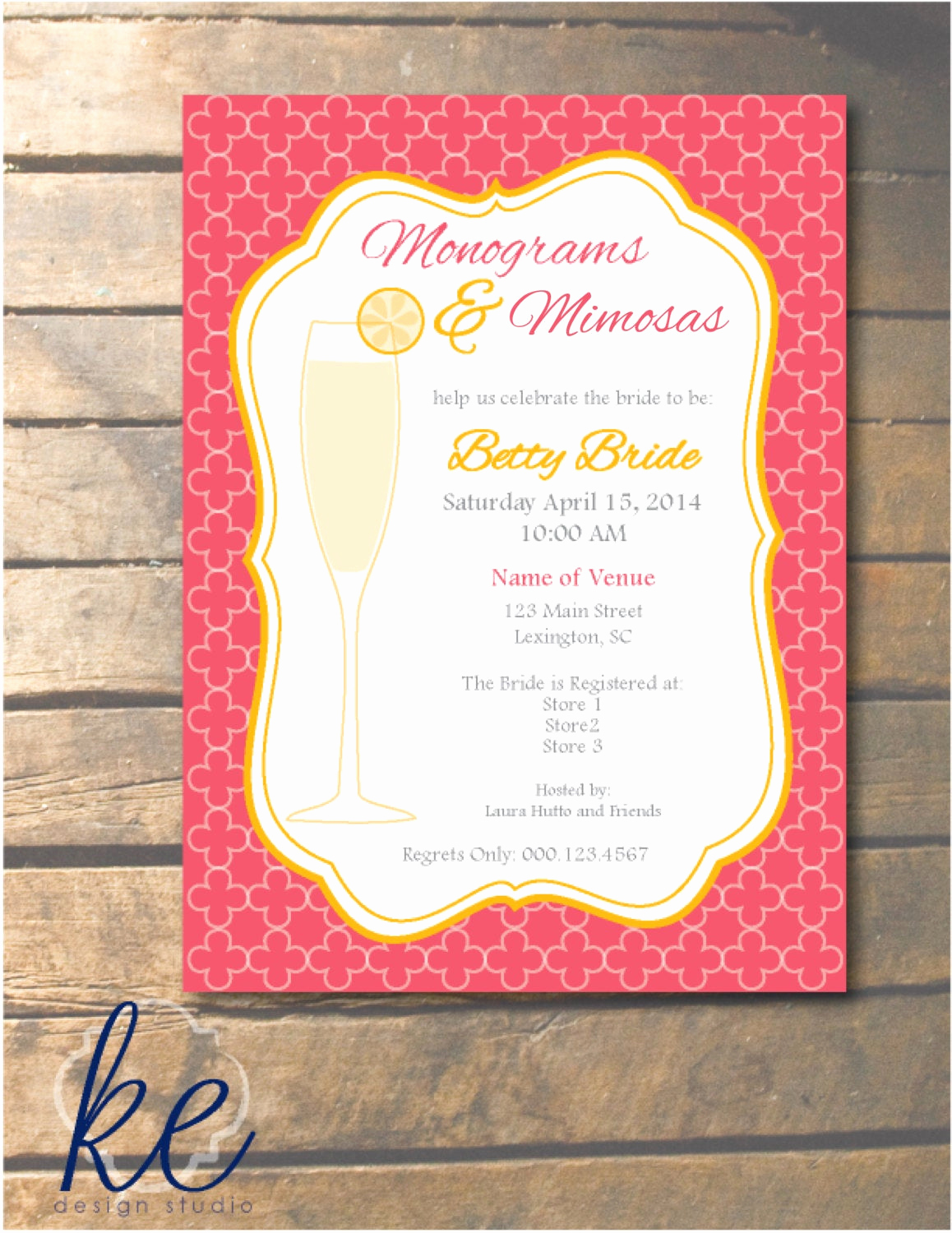 Mimosa Bridal Shower Invitation Elegant Monograms and Mimosas Wedding Shower Invitations by