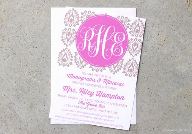 Mimosa Bridal Shower Invitation Fresh Invitations Monograms and Mimosas Invites Monogram