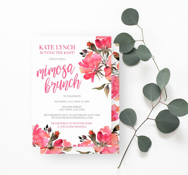Mimosa Bridal Shower Invitation Fresh Mimosa Brunch Bridal Shower Invitation Watercolor Flowers
