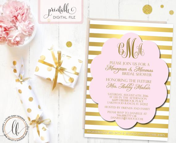 Mimosa Bridal Shower Invitation Fresh Monogram and Mimosas Bridal Shower Invitation Pink and Gold