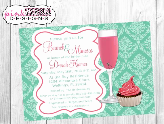 Mimosa Bridal Shower Invitation Inspirational Items Similar to Mint Damask and Pink Brunch & Mimosas