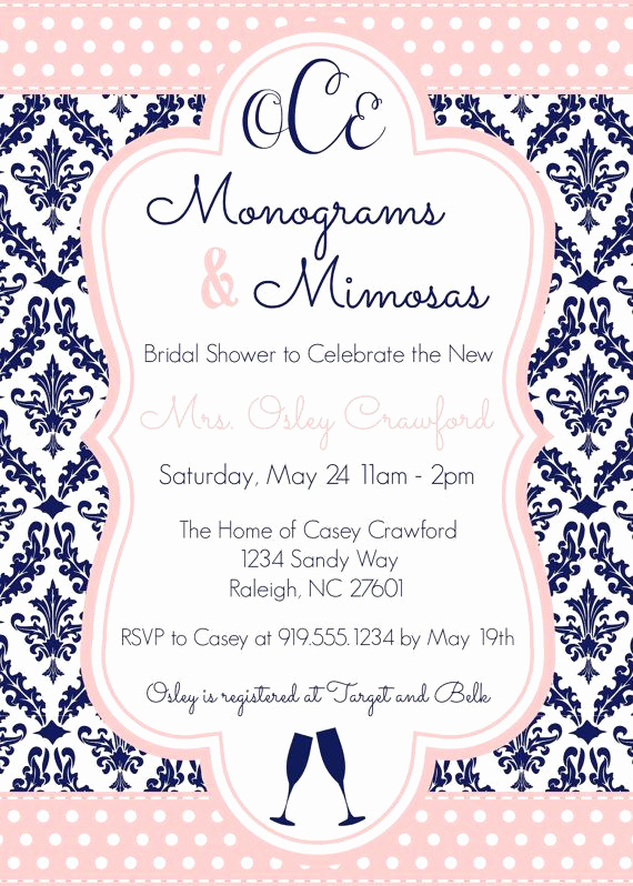 Mimosa Bridal Shower Invitation Inspirational Monograms and Mimosas Bridal Shower Invite 5x7 Navy and