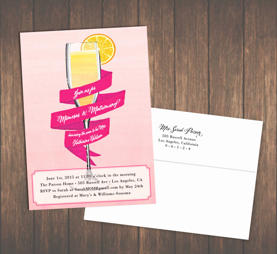 Mimosa Bridal Shower Invitation Lovely Mimosa Bridal Shower Invites Brunch or Luncheon Invitations