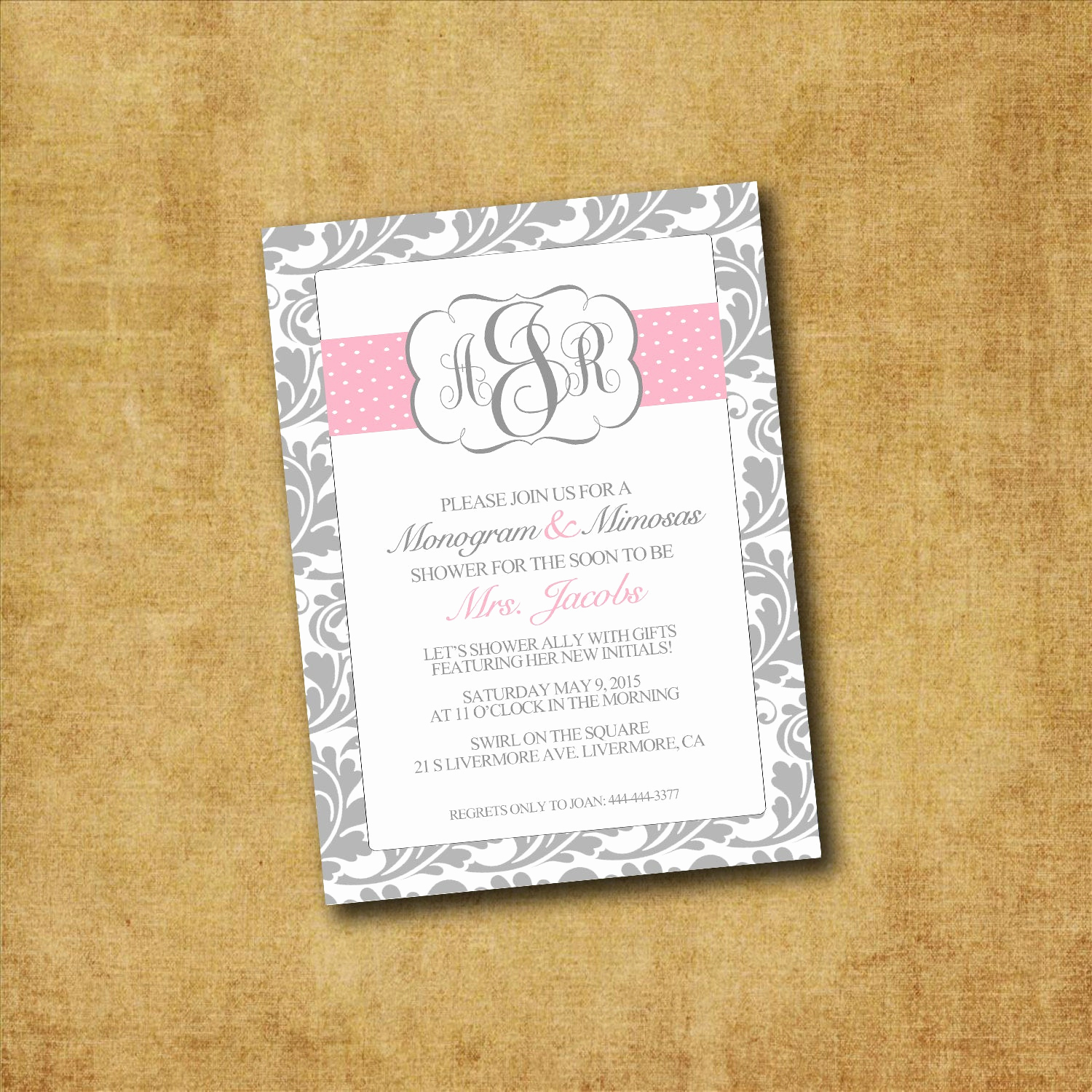 Mimosa Bridal Shower Invitation Lovely Printable Monogram & Mimosas Invitations Custom by Wedinfinity