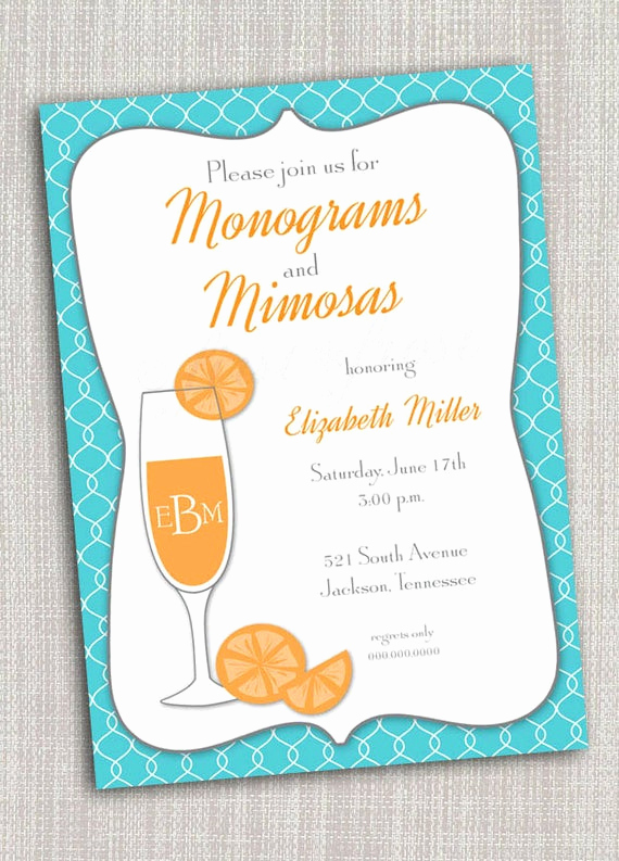 Mimosa Bridal Shower Invitation New Monogram and Mimosas Printable Invitation Wedding Bridal