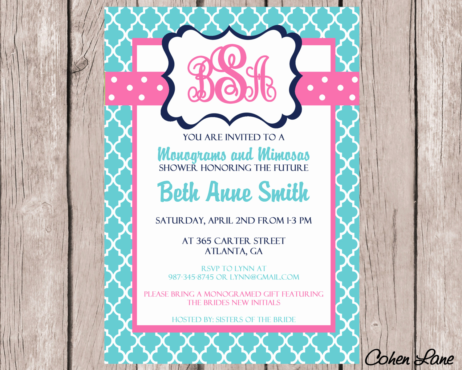 Mimosa Bridal Shower Invitation New Monograms and Mimosas Wedding Shower Invitation Bridal