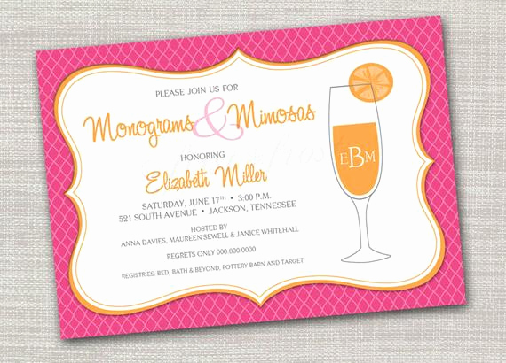 Mimosa Bridal Shower Invitation Unique Monogram and Mimosas Printable Invitation Wedding Bridal