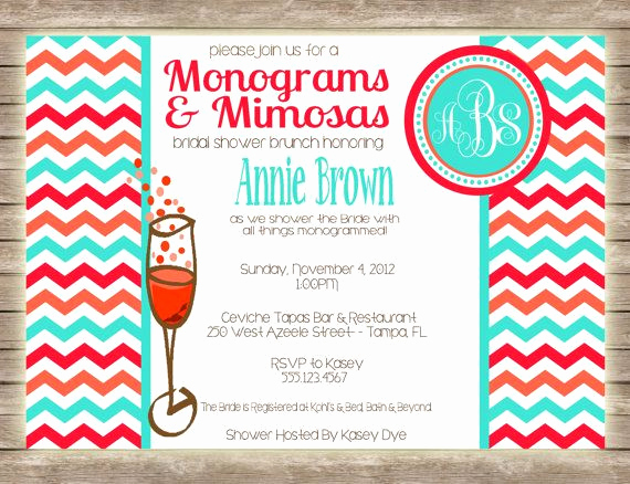Mimosa Bridal Shower Invitation Unique Monograms & Mimosas Bridal Shower Brunch Invitation $1 50