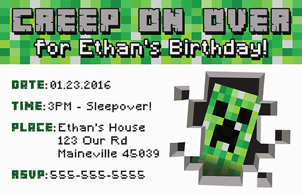 Minecraft Birthday Invitation Template Awesome Free Minecraft Printable Invitation