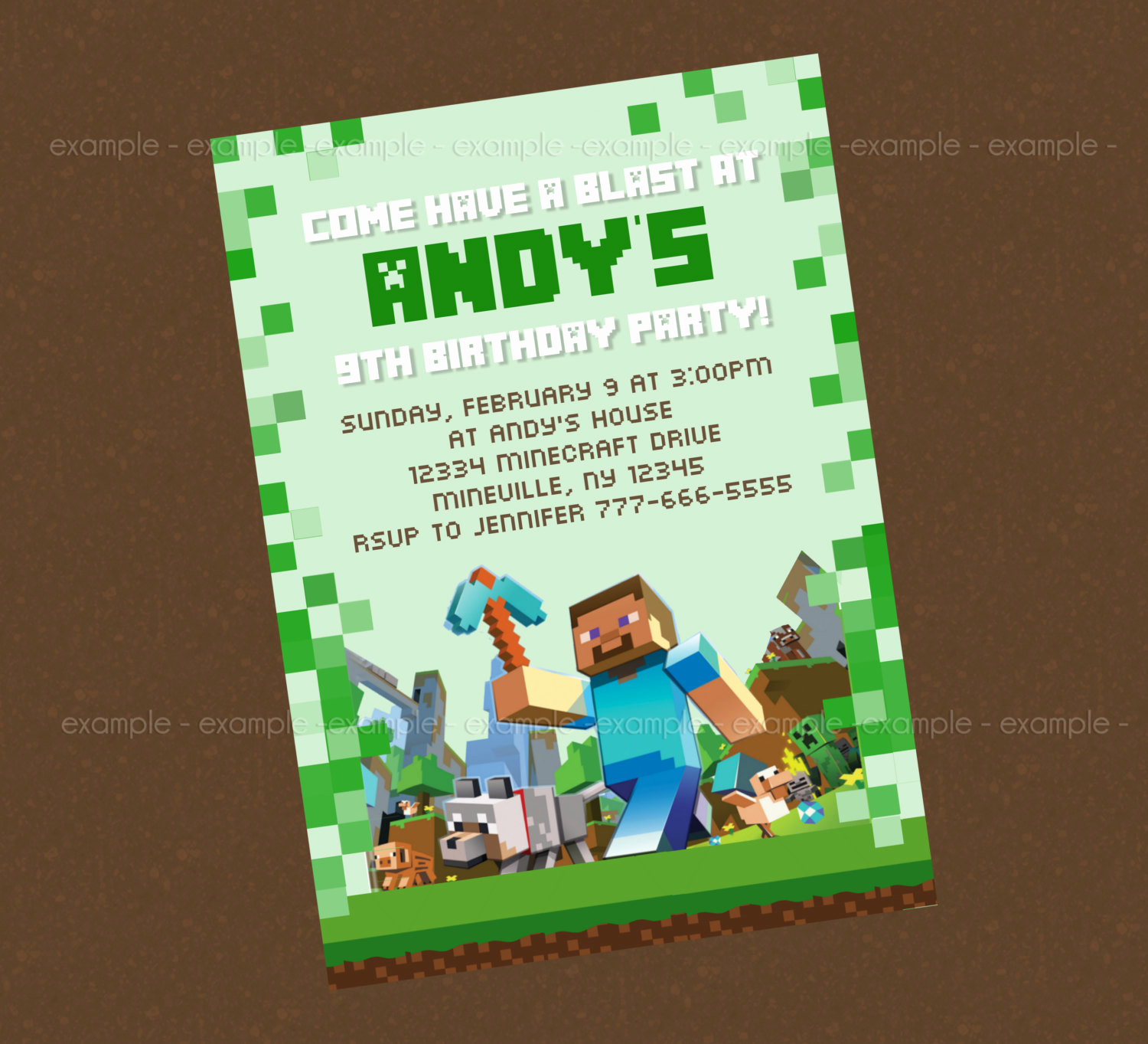 Minecraft Birthday Invitation Template Awesome Homemade Minecraft Invites