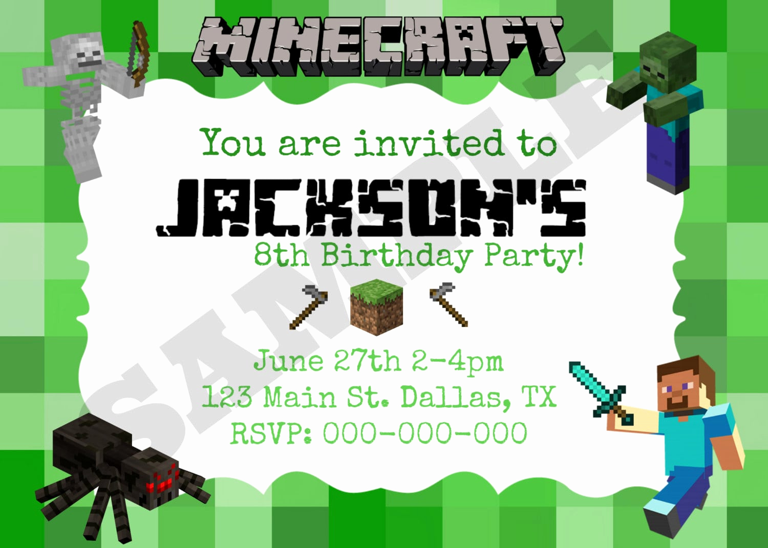 Minecraft Birthday Invitation Template Beautiful Minecraft Birthday Invitation Printable Free