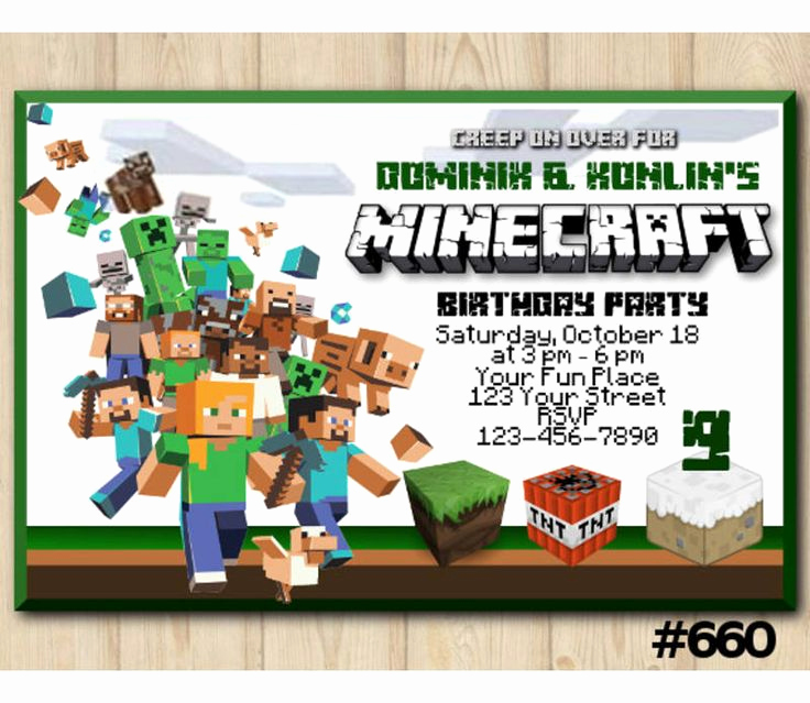 Minecraft Birthday Invitation Template Best Of Best 25 Minecraft Invitations Ideas On Pinterest
