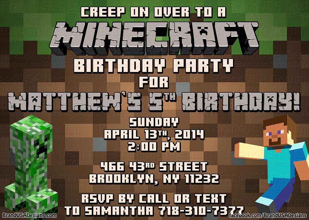 Minecraft Birthday Invitation Template Best Of Minecraft Birthday Invitations Printable