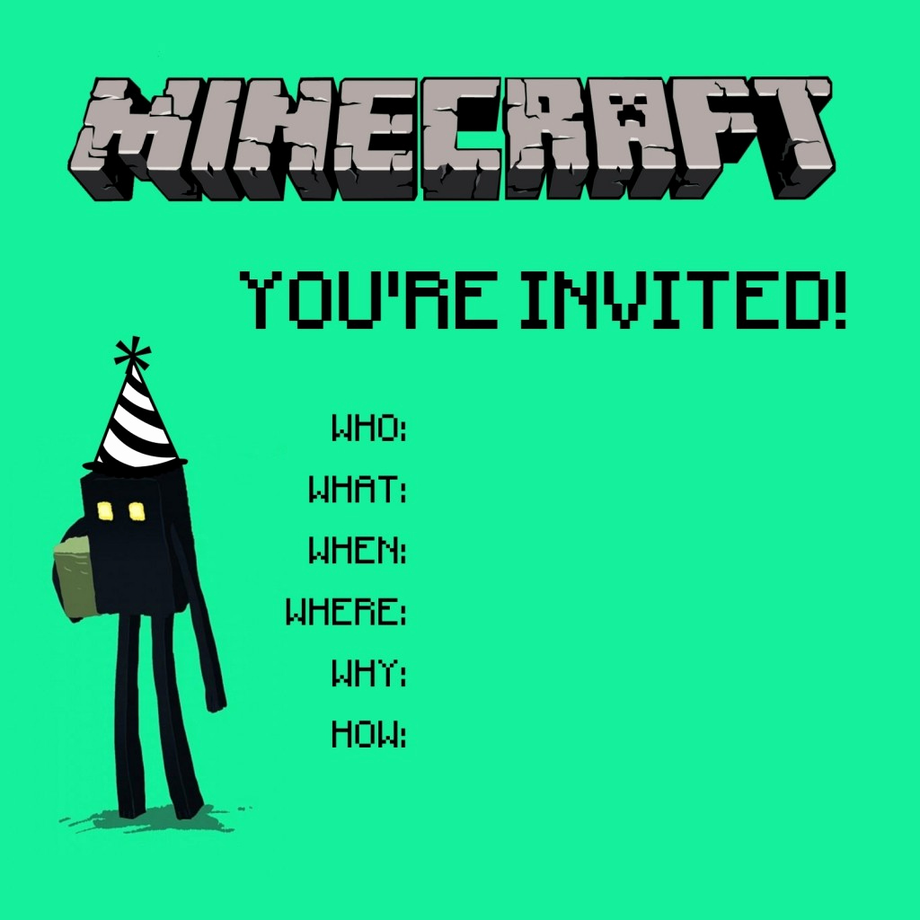 Minecraft Birthday Invitation Template Best Of Minecraft Invitations On Pinterest
