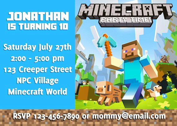 Minecraft Birthday Invitation Template Elegant Diy Minecraft Birthday Invitation Digital You by
