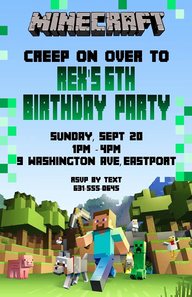 Minecraft Birthday Invitation Template Fresh Birthday Invitation Minecraft theme