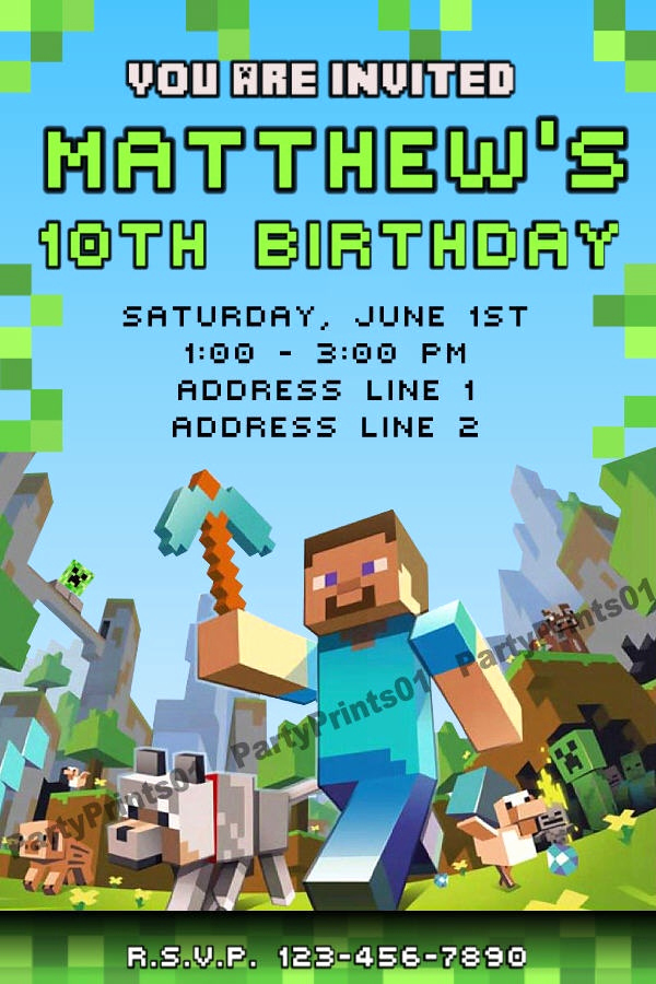 Minecraft Birthday Invitation Template Inspirational Minecraft Birthday Invitation Ebay