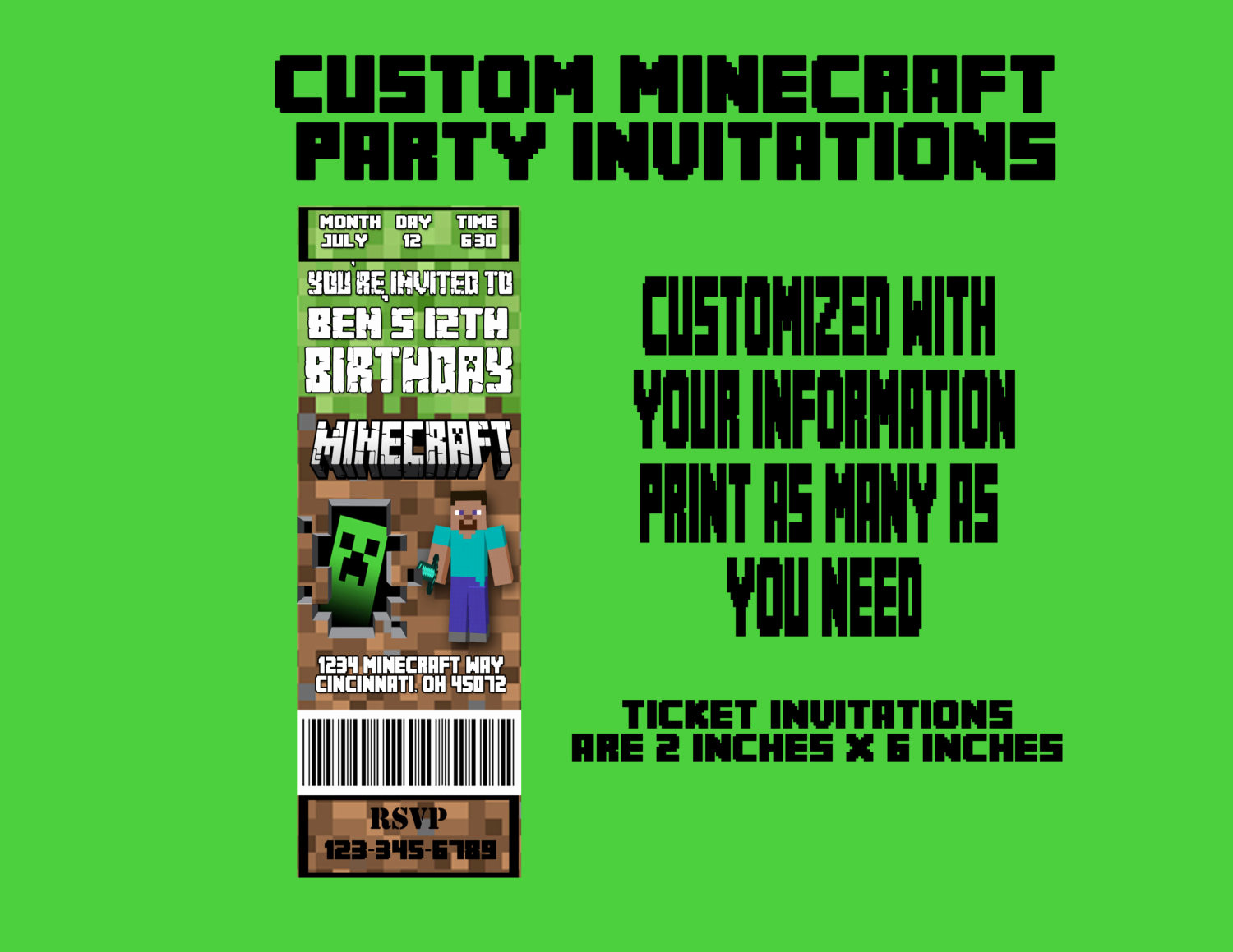 Minecraft Birthday Invitation Template Lovely Minecraft Invitation Templates