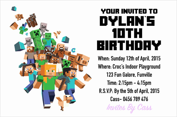 Minecraft Birthday Invitation Template Luxury 15 Birthday Invitation Templates In Pdf