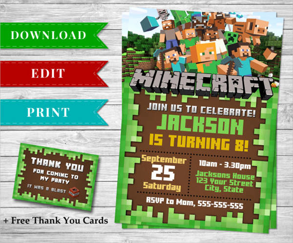 Minecraft Birthday Invitation Template Unique 83 Birthday Invitations Word Psd Ai Eps