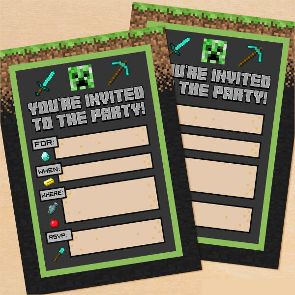 Minecraft Birthday Invitation Template Unique Printable Party Invitations 9 Free Psd Vector Ai Eps