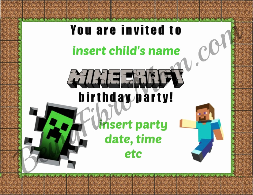 Minecraft Birthday Party Invitation Beautiful Minecraft Birthday Party Printables Decorations and Food