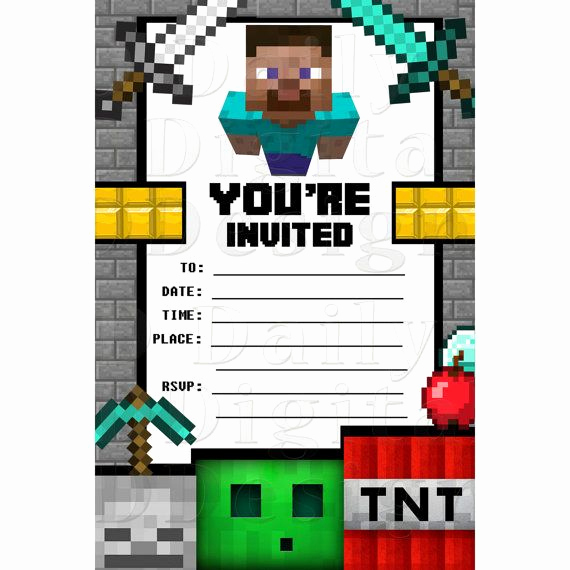 Minecraft Birthday Party Invitation Best Of Minecraft Party Invitations Birthday Invites Blank Fill In