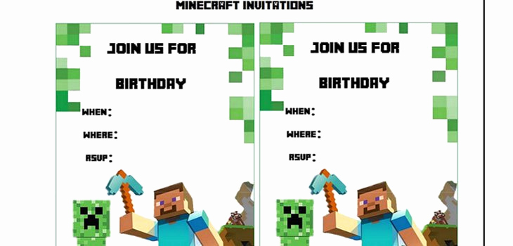 Minecraft Birthday Party Invitation Elegant Minecraft Printable Party Invitations