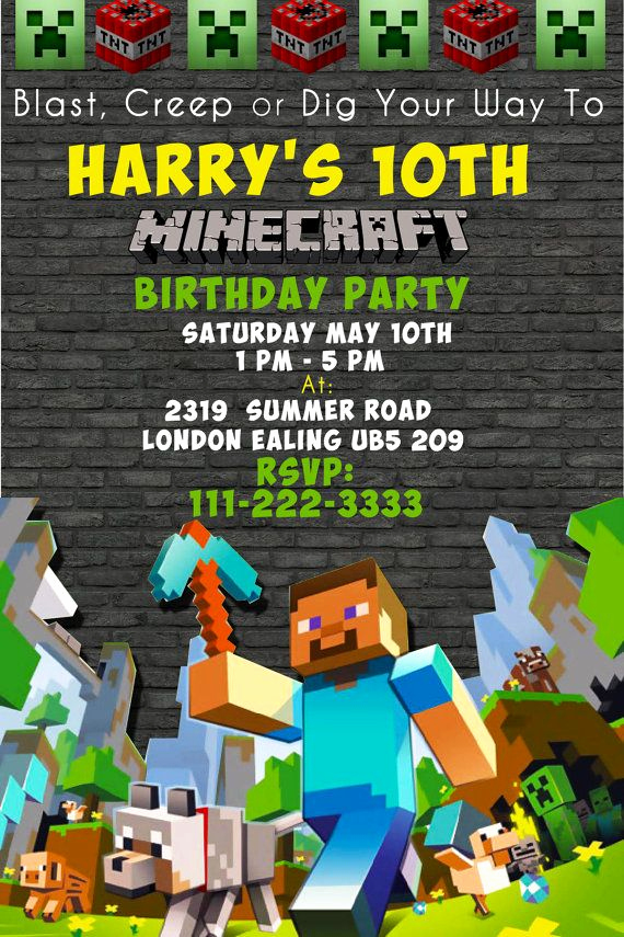 Minecraft Birthday Party Invitation Fresh 17 Best Ideas About Minecraft Invitations On Pinterest