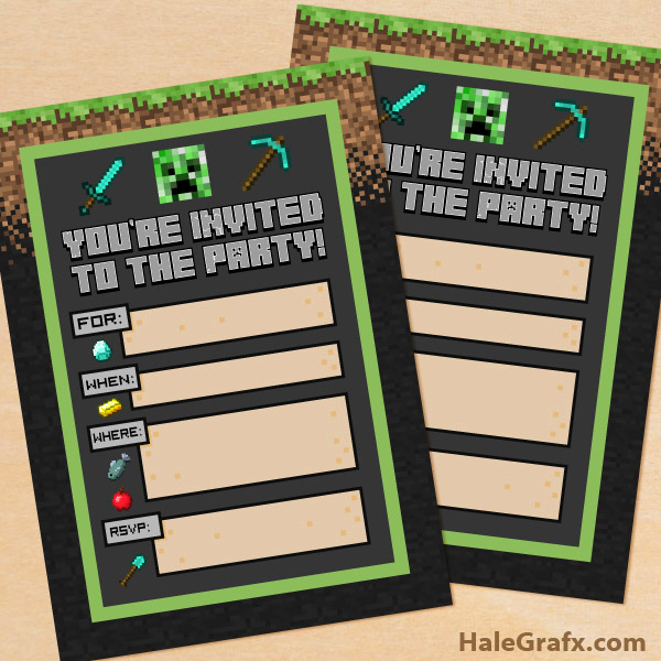 Minecraft Birthday Party Invitation Fresh Free Printable Minecraft Birthday Party Invitation