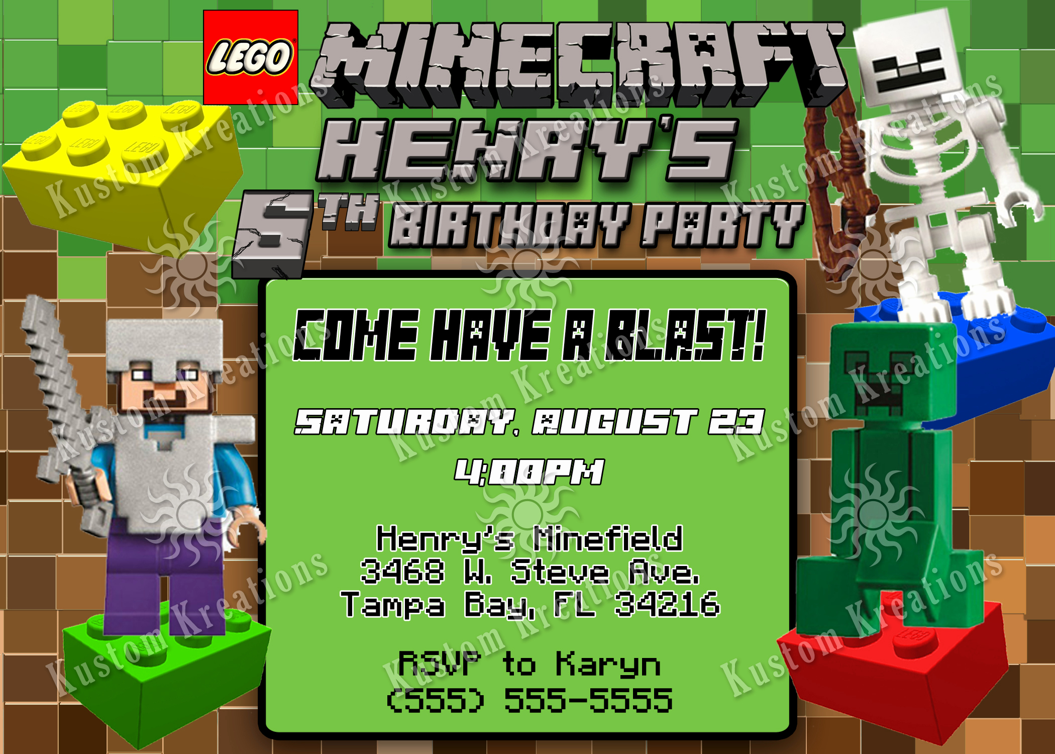 Minecraft Birthday Party Invitation Fresh Lego Minecraft Birthday Invitation