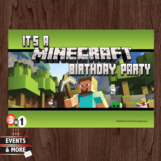 Minecraft Birthday Party Invitation Lovely Minecraft Birthday Party Invitation – 3in1 events & More