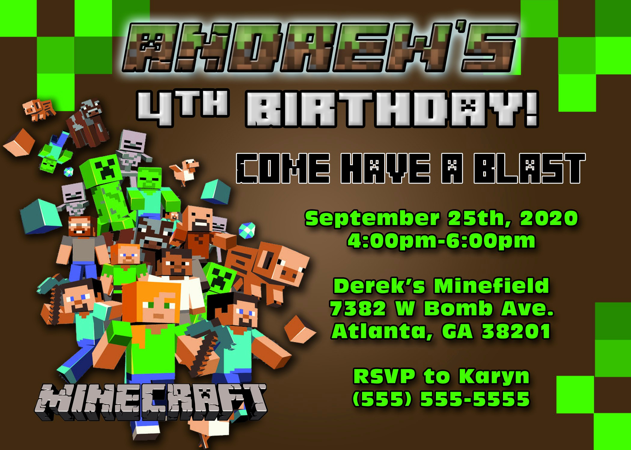 Minecraft Birthday Party Invitation New Minecraft Birthday Invitations Minecraft Birthday
