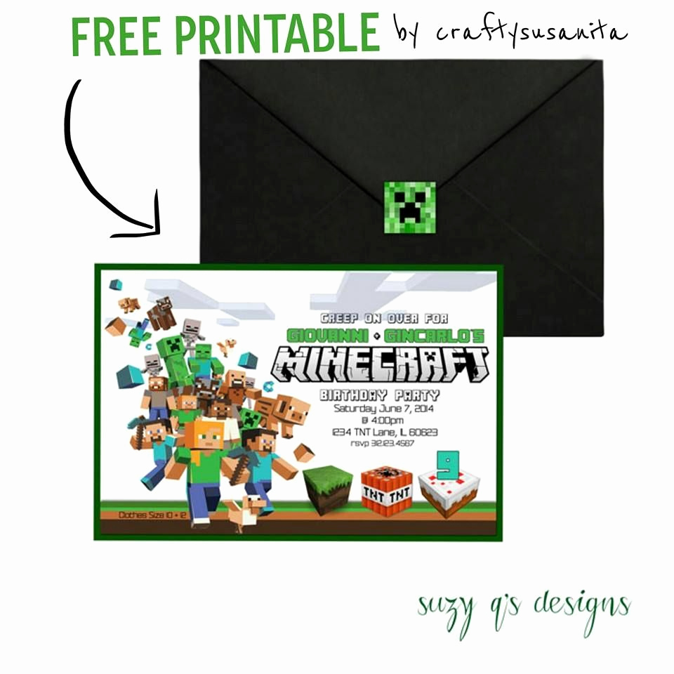 Minecraft Birthday Party Invitation Unique Free Minecraft Birthday Invitation Printable