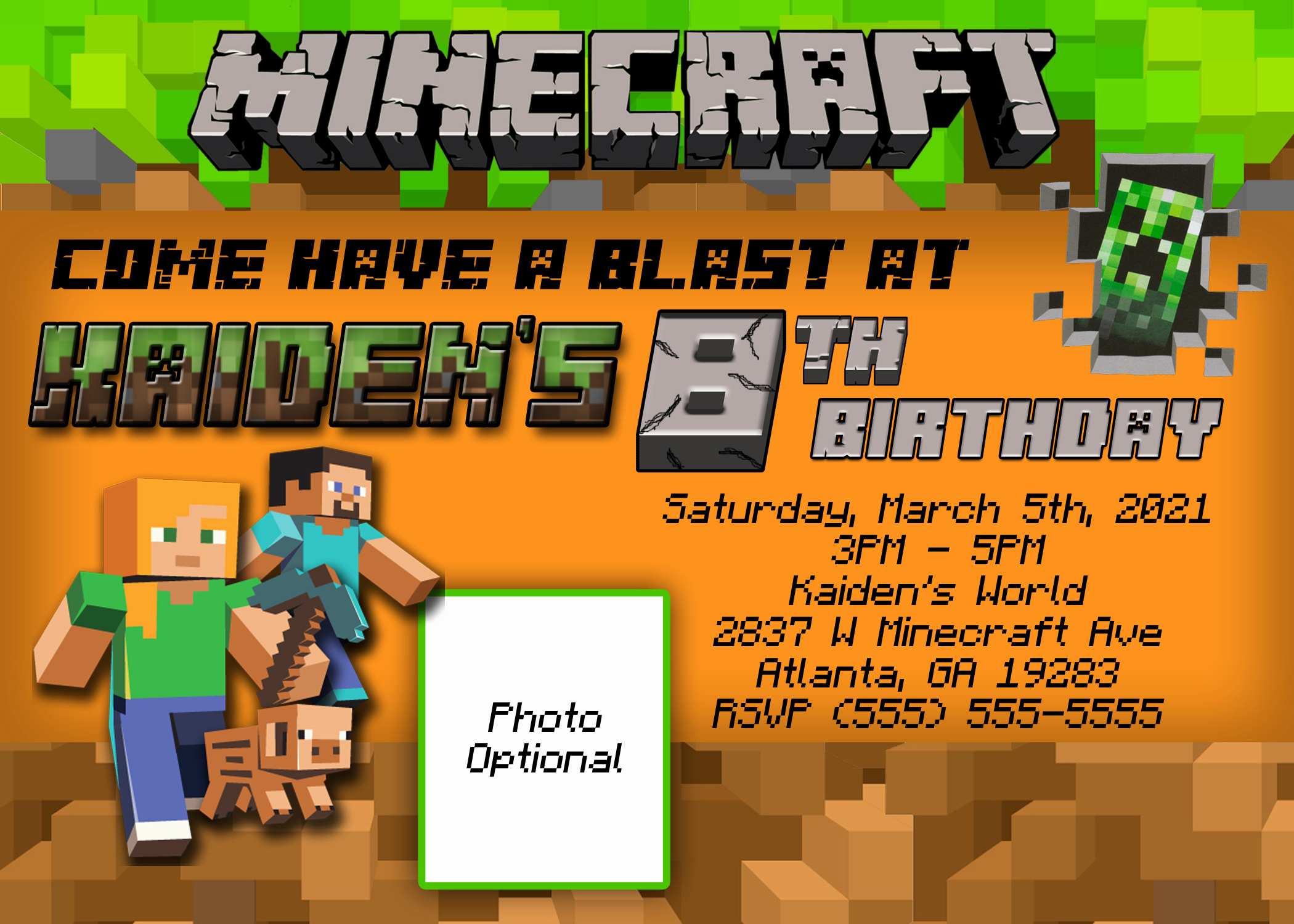 Minecraft Birthday Party Invitation Unique Minecraft Birthday Invitation