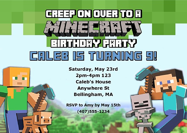 Minecraft Birthday Party Invitation Unique Minecraft Birthday Party Invitations