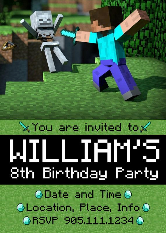 Minecraft Party Invitation Template Awesome 166 Best Images About Jaden Bday Ideas Minecraft On Pinterest