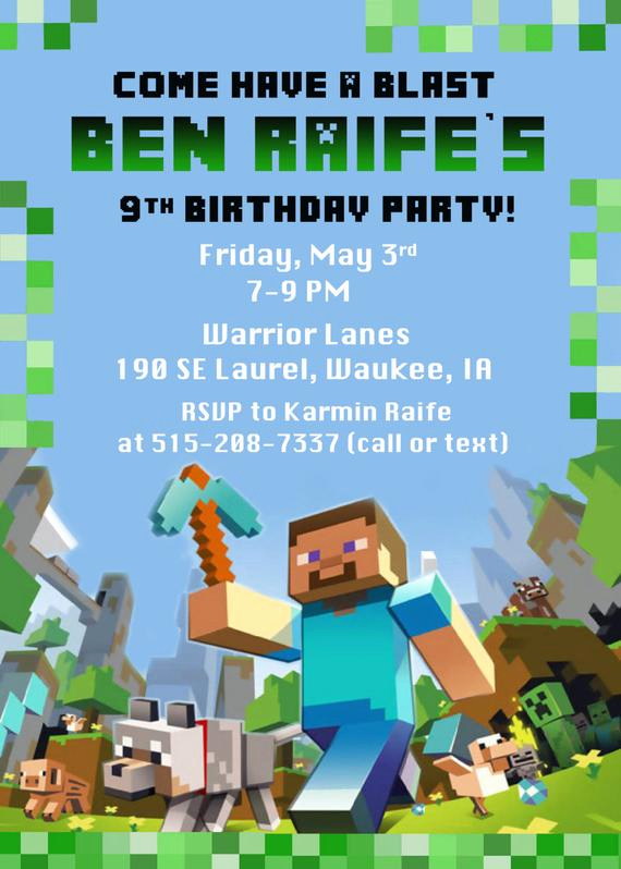 Minecraft Party Invitation Template Awesome Minecraft Birthday Party Invitation Digital by Funpartyprints