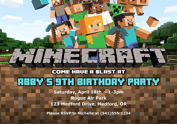 Minecraft Party Invitation Template Best Of Minecraft Birthday Party Invitations
