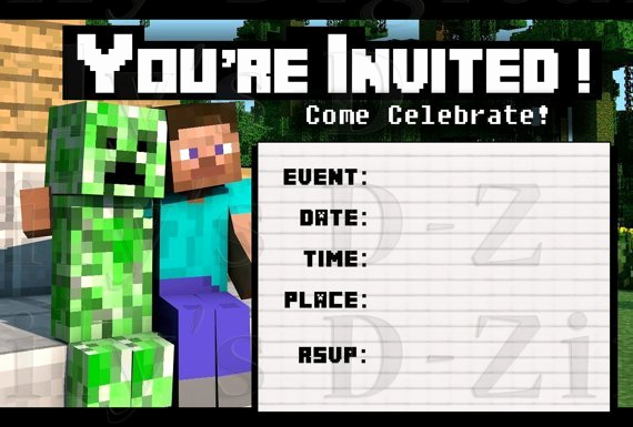 Minecraft Party Invitation Template Fresh Friendly Minecraft Invitation Printable • Experience Of A
