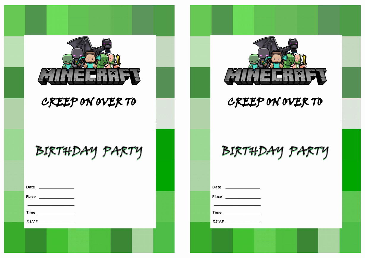Minecraft Party Invitation Template Fresh Minecraft Birthday Invitations
