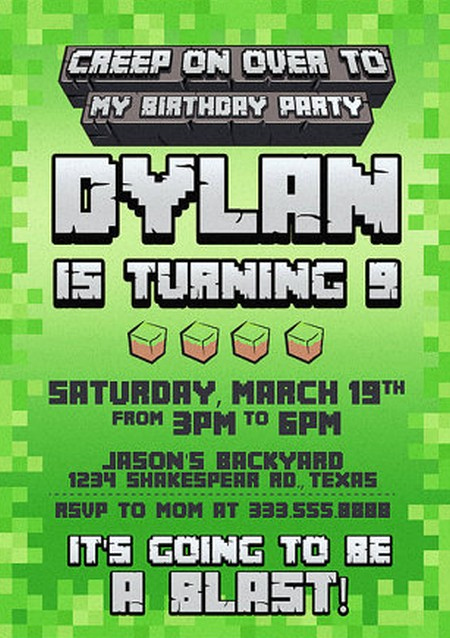 Minecraft Party Invitation Template Fresh Templates for Minecraft Party Invitations