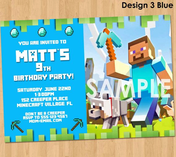 Minecraft Party Invitation Template Lovely Minecraft Invitation Minecraft Birthday by Lcdesigns615 On
