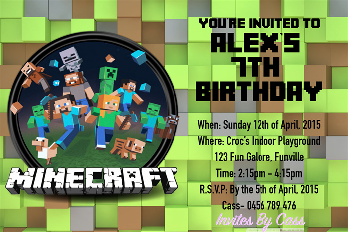 Minecraft Party Invitation Template Luxury Minecraft Kids Birthday Party Invitations