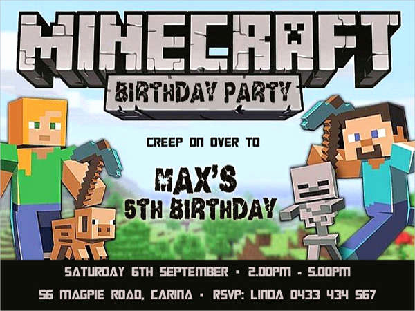 Minecraft Party Invitation Template New Minecraft Birthday Invitation Template