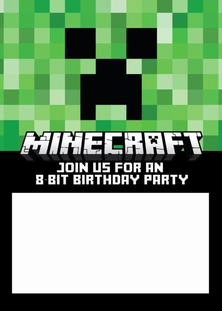 Minecraft Party Invitation Template Unique Minecraft Party Invitation Template