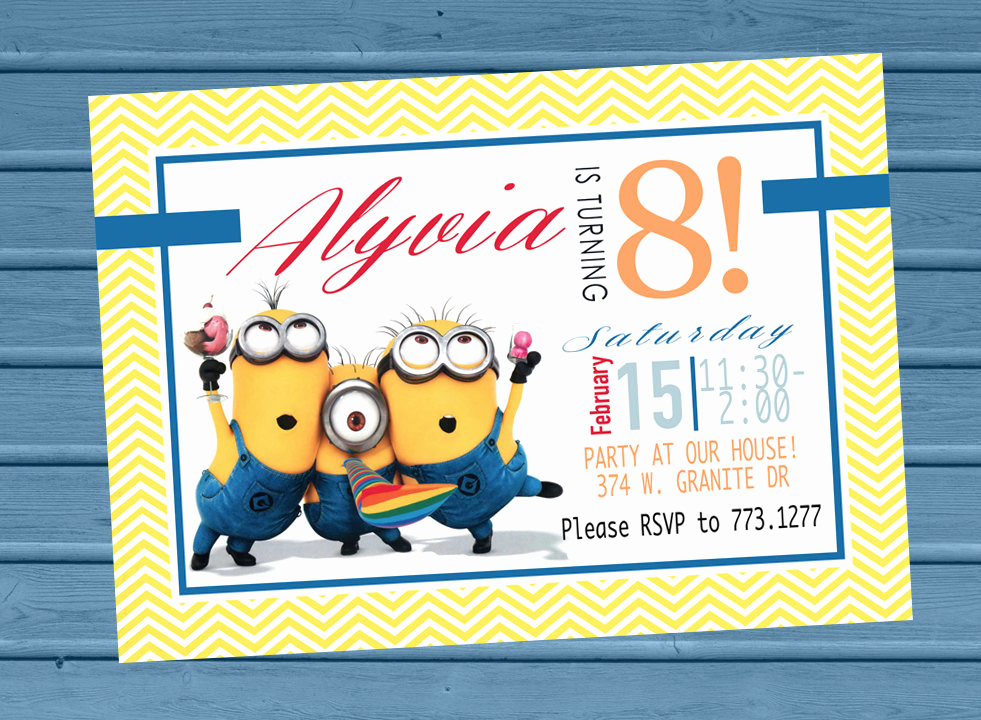 Minion Birthday Invitation Wording Awesome Minion Birthday Party Invitation Minion Invite Birthday